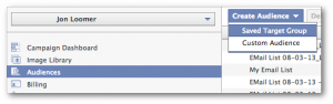 Facebook Power Editor Create Saved Target Group