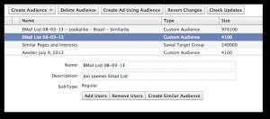 Facebook power Editor Create Similar Audience