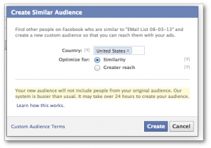 Facebook Power Editor Create Similar Audience Message