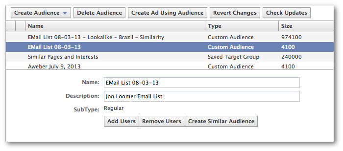 Facebook power Editor Create Similar Audience