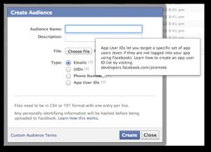 Facebook Power Editor Custom Audience App UID