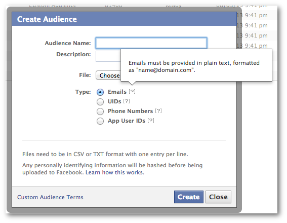 Facebook Power Editor Custom Audience Email Addresses
