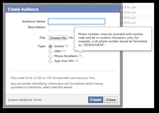 Facebook Power Editor Custom Audience Phone Numbers