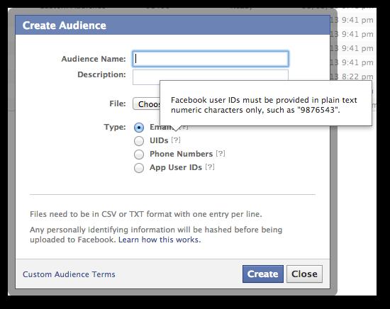 Facebook Power Editor Custom Audience UID