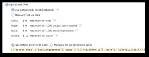 Facebook Power Editor Default Conversion Spec
