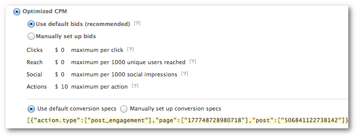 Facebook Power Editor Default Conversion Spec