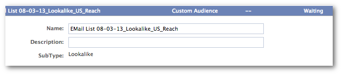 Facebook Power Editor Lookalike Audiences Waiting