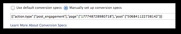 Facebook Power Editor Manually Set Conversion Specs