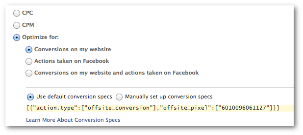 Facebook Power Editor Offsite Conversion Spec