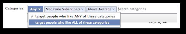 Facebook Power Editor Partner Categories Any All
