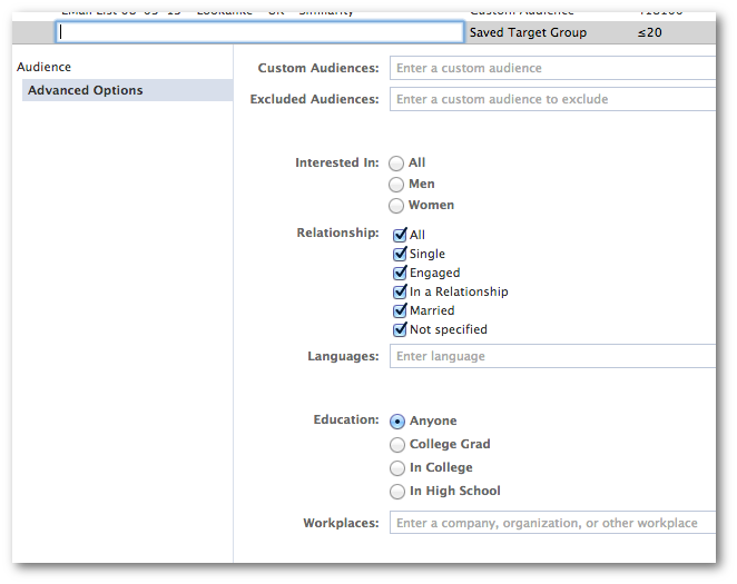 facebook power editor saved target group Facebook Ads and Power Editor: Comprehensive Glossary of Terms