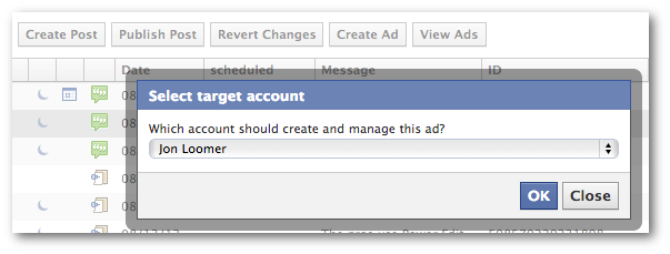 Facebook Power Editor Unpublished post Select Account