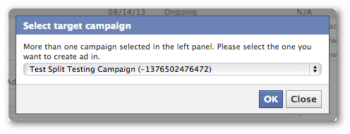 Facebook Power Editor Unpublished Post Select Campaign