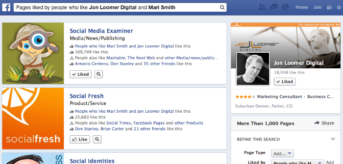 Facebook Graph Search Pages Liked by People Who Like