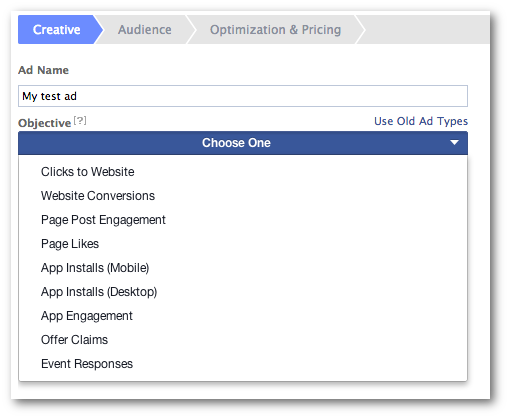 Facebook Ad Objectives Power Editor