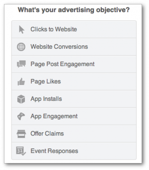 Facebook ad objectives self-serve ad tool