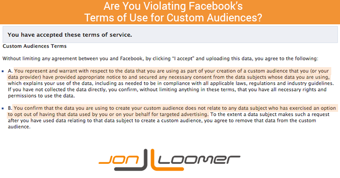 Facebook Custom Audiences Terms of Service