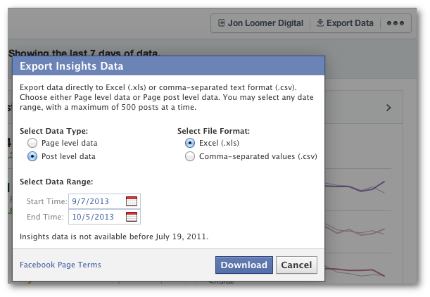 Facebook Insights Export