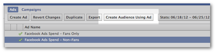 Facebook Power Editor Create Audience Using Ad