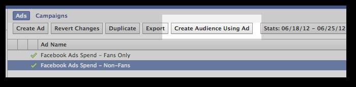 Facebook Power Editor Create Audience Using Ad
