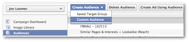 Facebook Power Editor Create Custom Audience