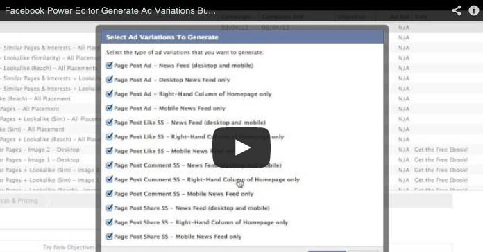 Facebook Power Editor Generate Ad Variations