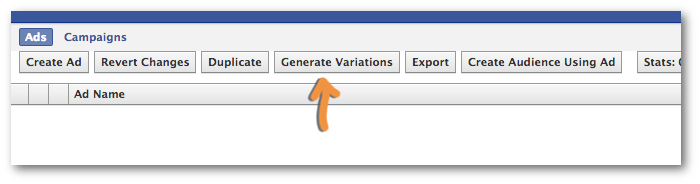 Facebook Power Editor Generate Variations Button
