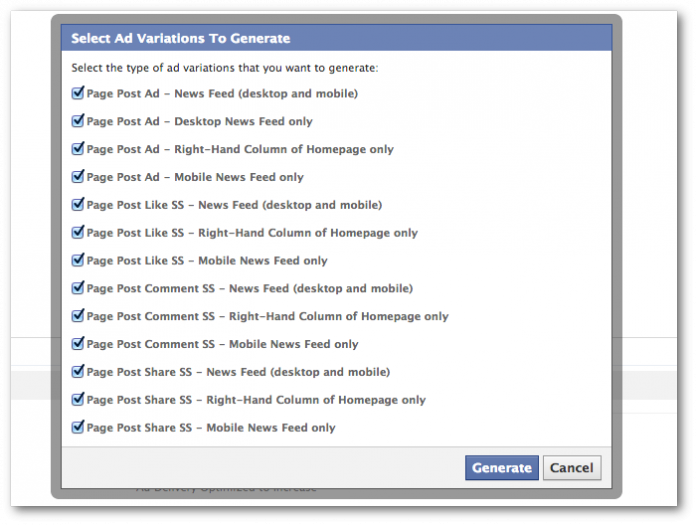 Facebook Power Editor Generate Variations Options