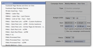 Facebook Power Editor Labels Expand