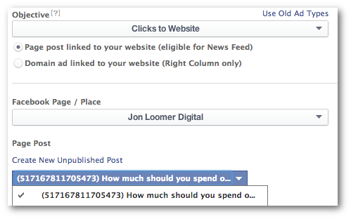 Facebook Power Editor Objective Promote Post