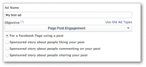 Facebook Power Editor Objectives Page Post Engagement