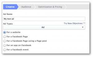 Facebook Power Editor Objectives Toggle