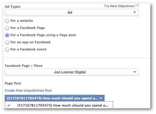Facebook Power Editor Old Ads Promote Post