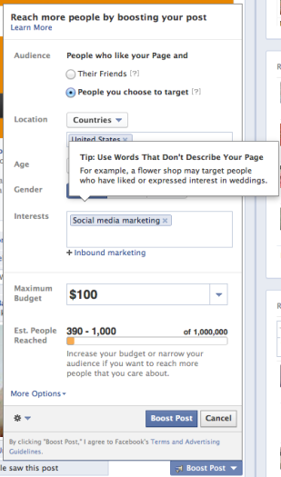 Facebook Boost Post Targeting