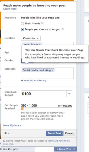 Facebook Boost Post Targeting