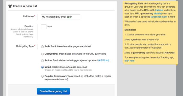 Facebook FBX Create Email Retargeting List