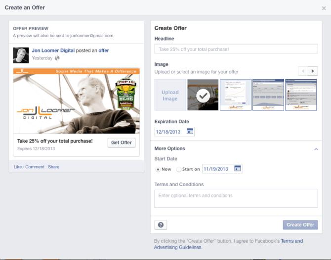 Facebook Offer Creation