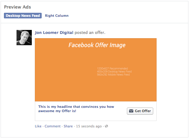 Facebook Power Editor Offer Preview