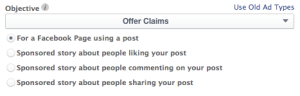 Facebook Power Editor Objective Offer Claim