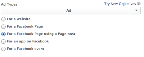 Facebook Power Editor Old Ad Types Facebook Ad Using a Page Post