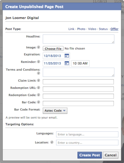 Facebook Power Editor Unpublished Post Offer