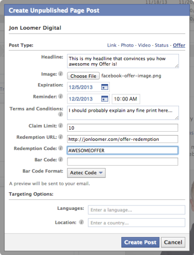 Facebook Power Editor Unpublished Post Offer Completed