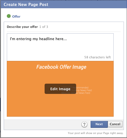 Facebook Self-Serve Ad Tool Objectives Create Offer Step 1