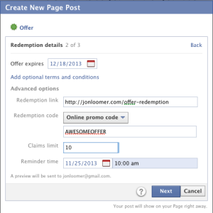 Facebook Self Serve Ad Tool Objectives Create Offer Step 2