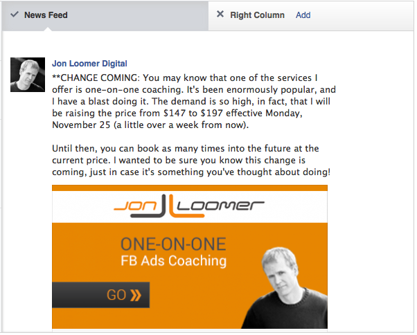 Facebook Self Serve Ad Tool Placement