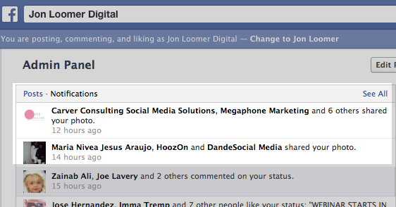Facebook Shares Notifications