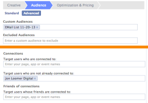Facebook Ad Power Editor Target Email Subscribers