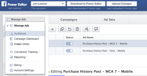 Facebook Power Editor Manage Ads