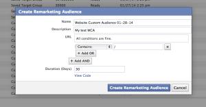 Facebook WCA Create Remarketing Audience in Power Editor
