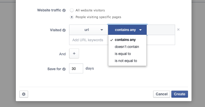Facebook Website Custom Audience Contains